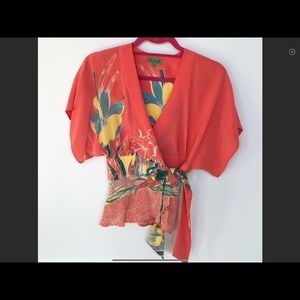 TIBI Silk Print Top